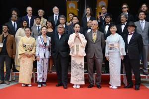 前回の「なら国際映画祭」であいさつする河瀬直美監督(中央)=平成26年9月、奈良市
