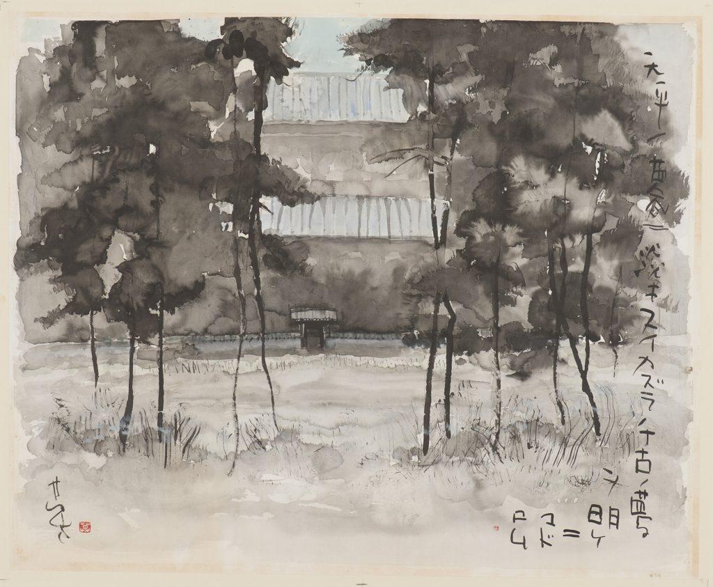 昭和59(1984)年 絹本 額装 66・5×81㌢  三重県立美術館蔵 ※この作品の展示は6月4日まで