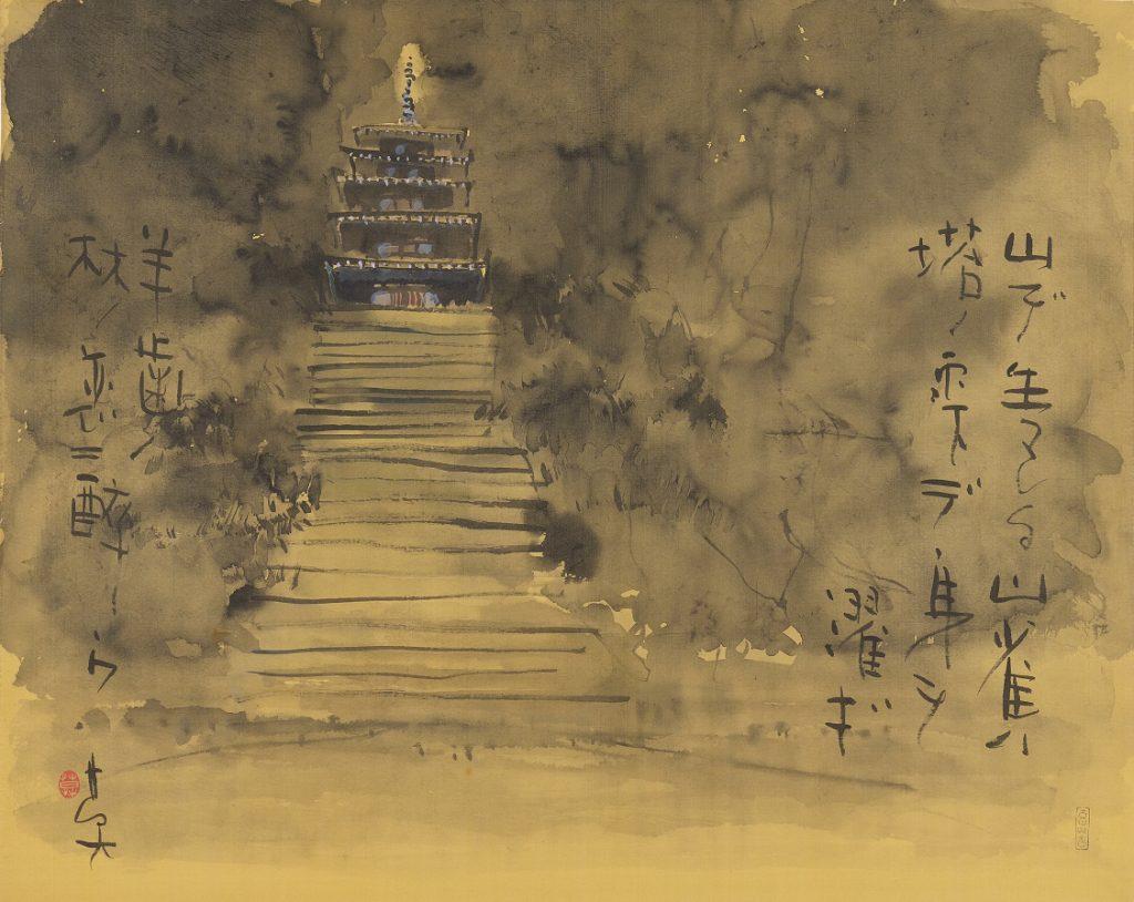 昭和59(1984)年 絹本 額装 65・5×81㌢ 三重県立美術館蔵